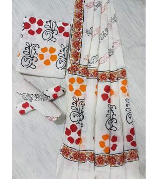 Unstitched Adi cotton block Three piece 11