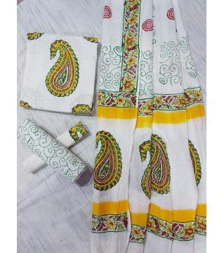 Unstitched Adi cotton block Three piece 10-White and Yellow