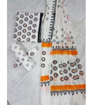 Unstitched Adi cotton block Three piece 14-white and orange