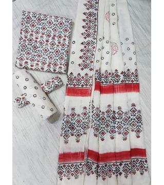 Unstitched Adi cotton block Three piece 16-White and red