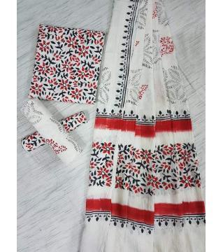Unstitched Adi cotton block Three piece 17-White and red