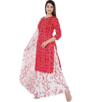 Unstitched Chunri three piece red color