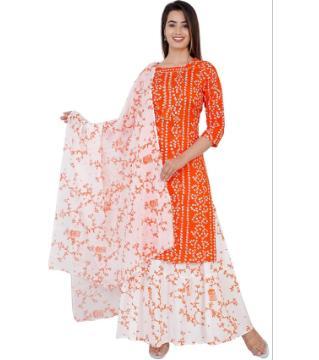 Unstitched Chunri three piece orange color