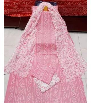 Unstitched Chunri three piece light pink color