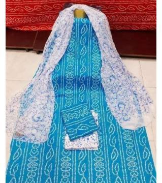 Unstitched Chunri three piece blue color