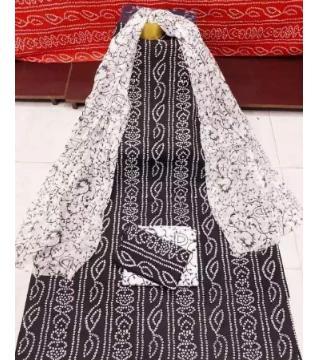 Unstitched Chunri three piece black color
