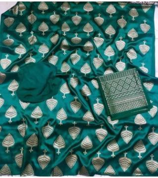 Unstiched silk skin print three piecs GREEN1