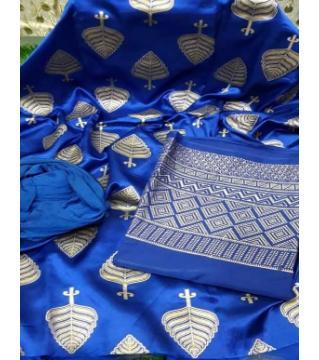 Unstiched silk skin print three piecs royal blue 1