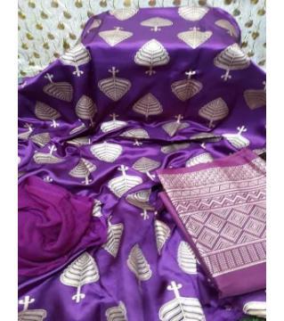 Unstiched silk skin print three piecs purpel1
