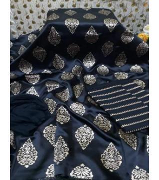 Unstiched silk skin print three piecs Black1