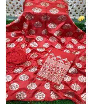 Unstiched silk skin print three piecs Red Flower1