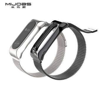 Mi Band 2 Magnetic Buckle Metal Stainless Steel Strap - Blac