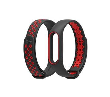 Silicone Strap Bracelet for Mi Band 2 - Black and Red
