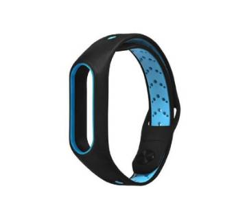 Silicone Strap Bracelet for Xiaomi Mi Band 2 - Black and Blue
