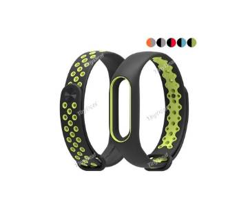 Silicone Strap Bracelet for Mi Band 2 - Black and green
