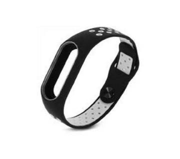 Silicone Strap Bracelet for Mi Band 2 - Black & Gray