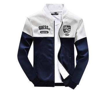 Navy Blue & Light Gray Cotton Jacket For Men