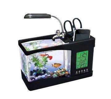 USB Desktop Aquarium With LCD Clock