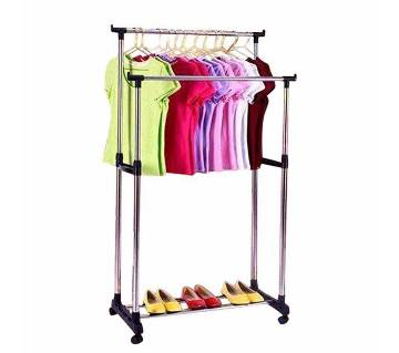 Folding double clothes rack & shoe rack