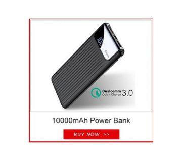 QC3 10000mAh Quick Charge Mobile Power Bank Dual USB - Black