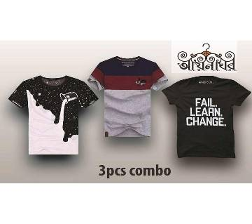 Half Sleeve Round Neck Cotton T Shirt For Men 3 Piece Combo Offer