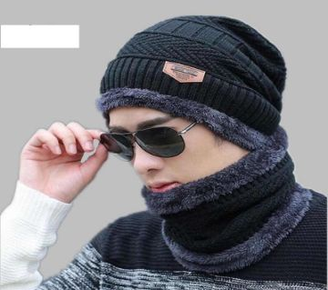 Unisex Winter Cap And Scarf Set  -Random color