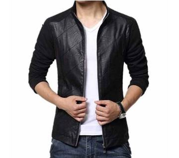 Mix Leather Full Sleeve Jacket