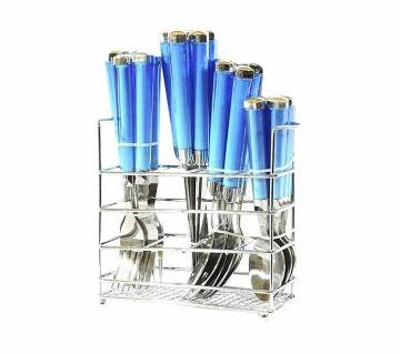 Stainless Steel Cutlery Set 24 Piece - Blue