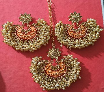 Gazra Earrings and Tickly with Orange Minakari for Women and Girls