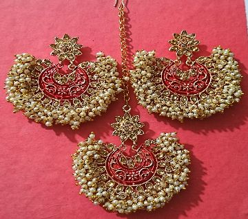 Gazra Earrings and Tickly with Red Minakari for Women and Girls
