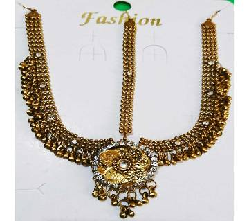 Golden Antique Metal Taira with Crystal Stones for Women and Girls