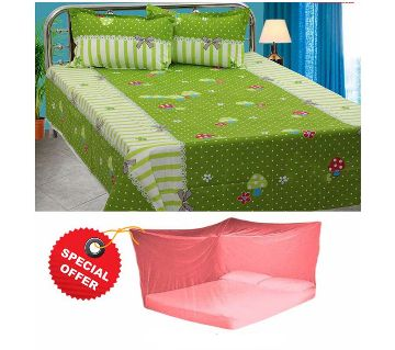 Home Tex bedsheet set (double) and Magic Mosquito Net Combo