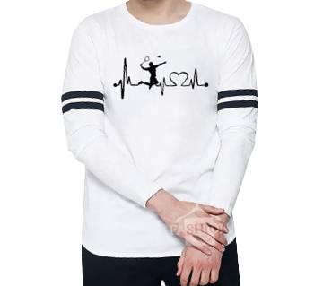 Badminton Lover  White Full Sleeve with black stripe T-Shirt white Full hand t-shirt for man winter collection