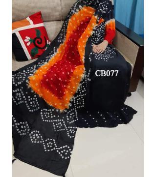 chundi batik unstitched cotton salwar kameez orange black
