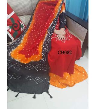 chundi batik unstitched cotton salwar kameez orange