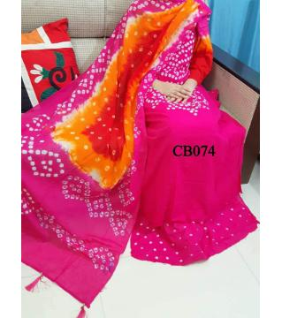 chundi batik  unstitched cotton salwar kameez pink