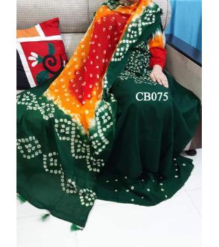 chundi batik  unstitched cotton salwar kameez green