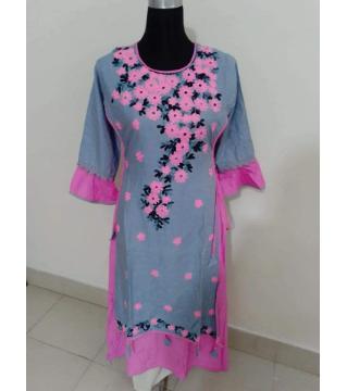 screen print linen kurti pink