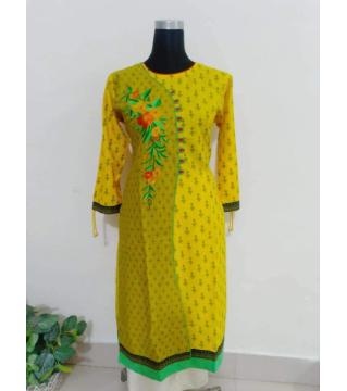 screen print linen kurti yellow