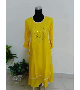 mirror work screen print linen kurti yellow