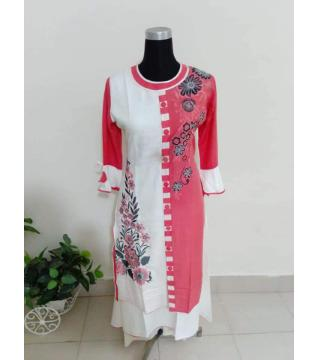 screen print linen kurti  white and pink