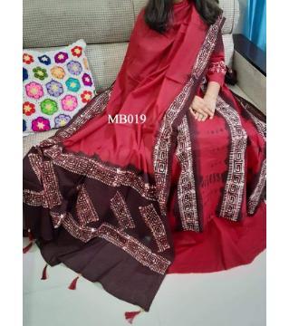 Mom batik.  unstitched organdy three piece maroon