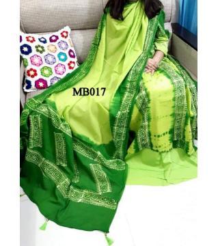 mom batik  unstitched organdy three piece green