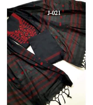 hand loom jamdan unstitched cotton three piece  black