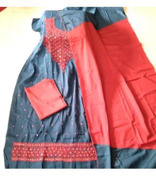 Jessore hand work  unstitched salwar kameez for women red