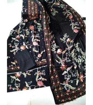 three piece  unstitched salwar kameez for women black