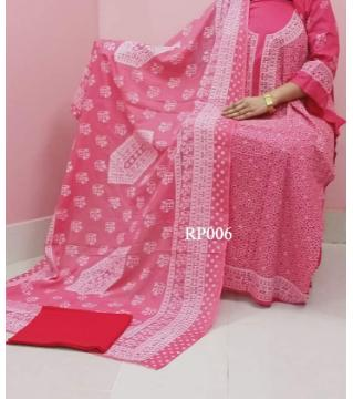 rubber print  unstitched salwar kameez for women pink