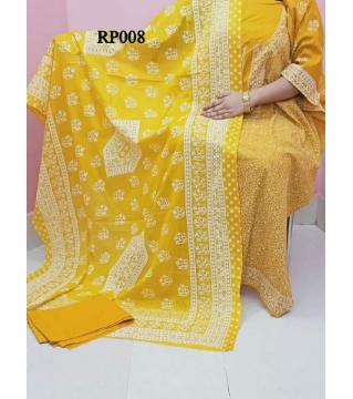 rubber print  unstitched salwar kameez for women yellow