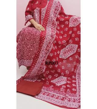 rubber print unstitched salwar kameez for women red