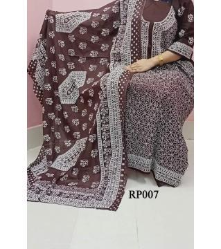 rubber print unstitched salwar kameez for women  coffee